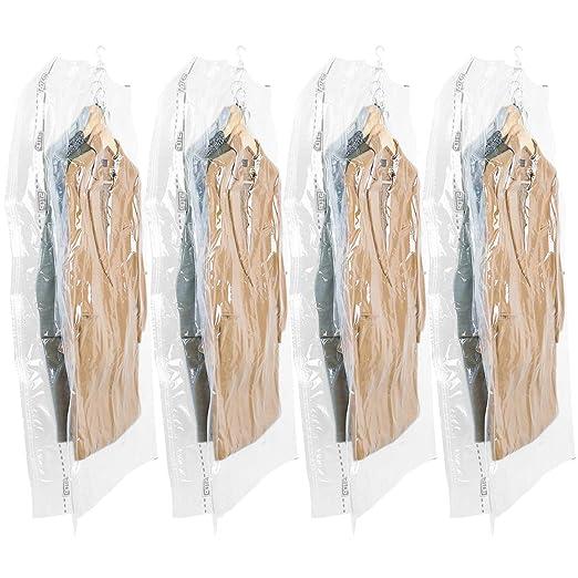 TAILI Cuelgan Bolsas de Almacenaje al Vacío Cubo Juego de 4 (135x70x38cm) para Colgada Ropa, Ropa de Cama, Edredones, Almohadas, Mantas, Cortinas