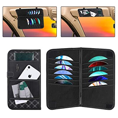 Car Sun Visor Organizer and CD Holder, Double-Layer Auto Interior Accessories Pocket Organizer,Personal Belonging and Document, Registration, Ticket Storage Pouch + 12 Pocket CD, DVDs Storage Case: Automotive