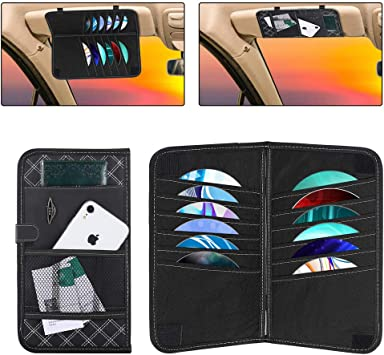 Car Double-Layer Car Sun Visor CD Clip Storage Bag,Multifunction PU Personal Belonging Storage Pouch LEDCARE Car Sun Visor Organizer 12 Pocket CD and 3 Big Miscellaneous