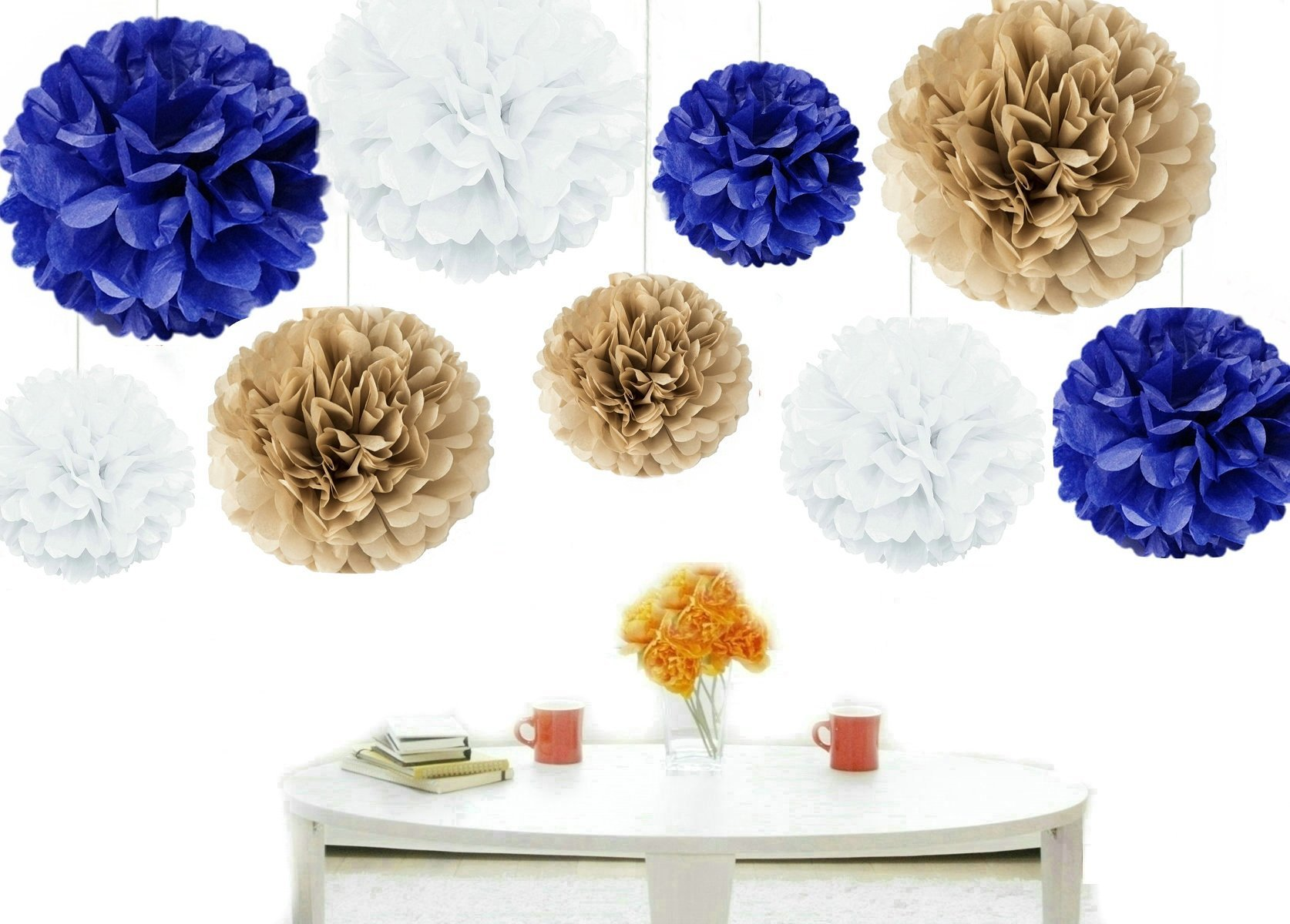 Kubert® 18pcs Mixed Sizes 8'' 10'' 14'' Premium Tissue Paper Pom-poms Flower Ball Wedding Party Outdoor Decoration - Royal Blue, Gold & White