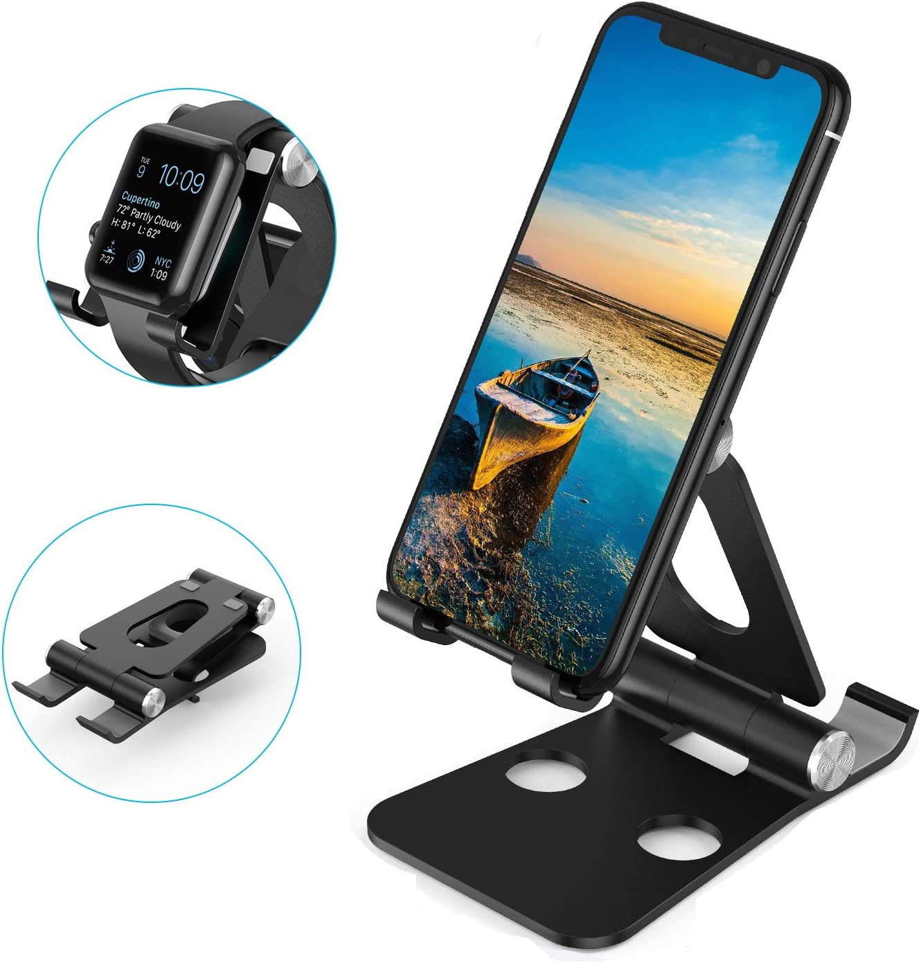 SAINUOD Adjustable Cell Phone Stand Thickness Aluminum Black 2 in 1 Universal Desktop Apple Watch Holder Compatible for iPhone 11 Pro Max SE XS XR 8 Plus 6 7 6S