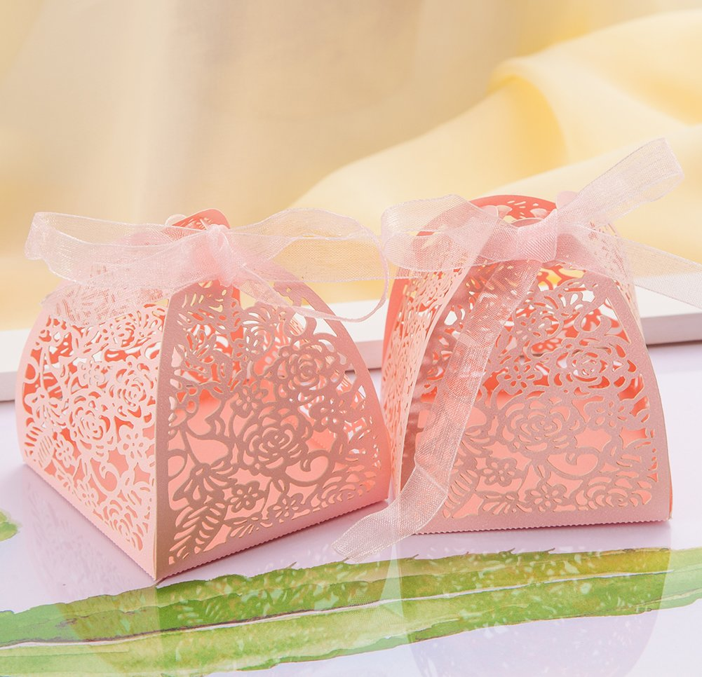 Amazon.com: 50pcs Party Wedding Favor Candy Box With Ribbon Laser ...