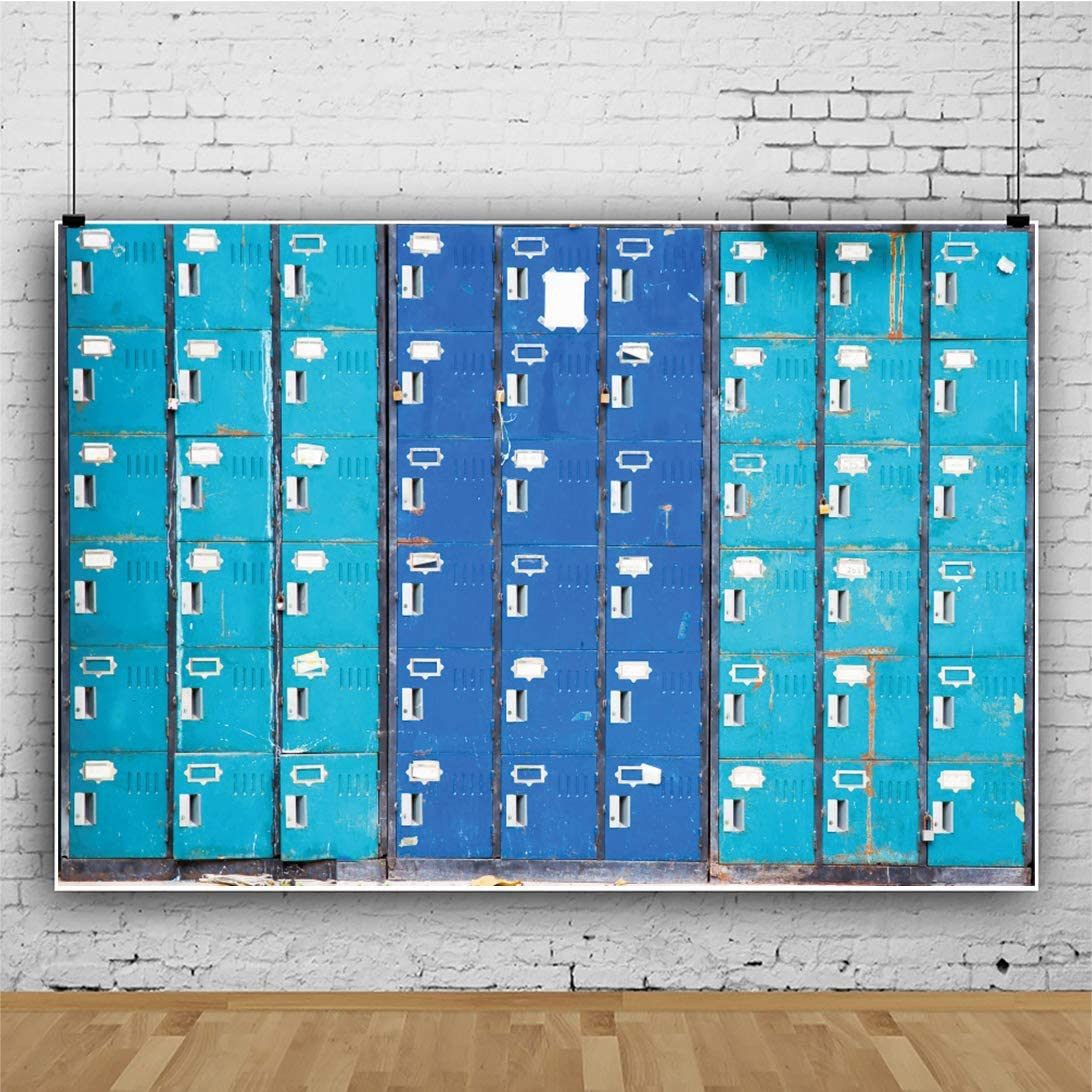 YEELE Old Lockers Backdrop 15x10ft Faded Color Shabby Lockers in School Photography Background Vintage Dressing Room School Locked Room Safety Lockable Cells School Student Photoshoot Props Wallpaper