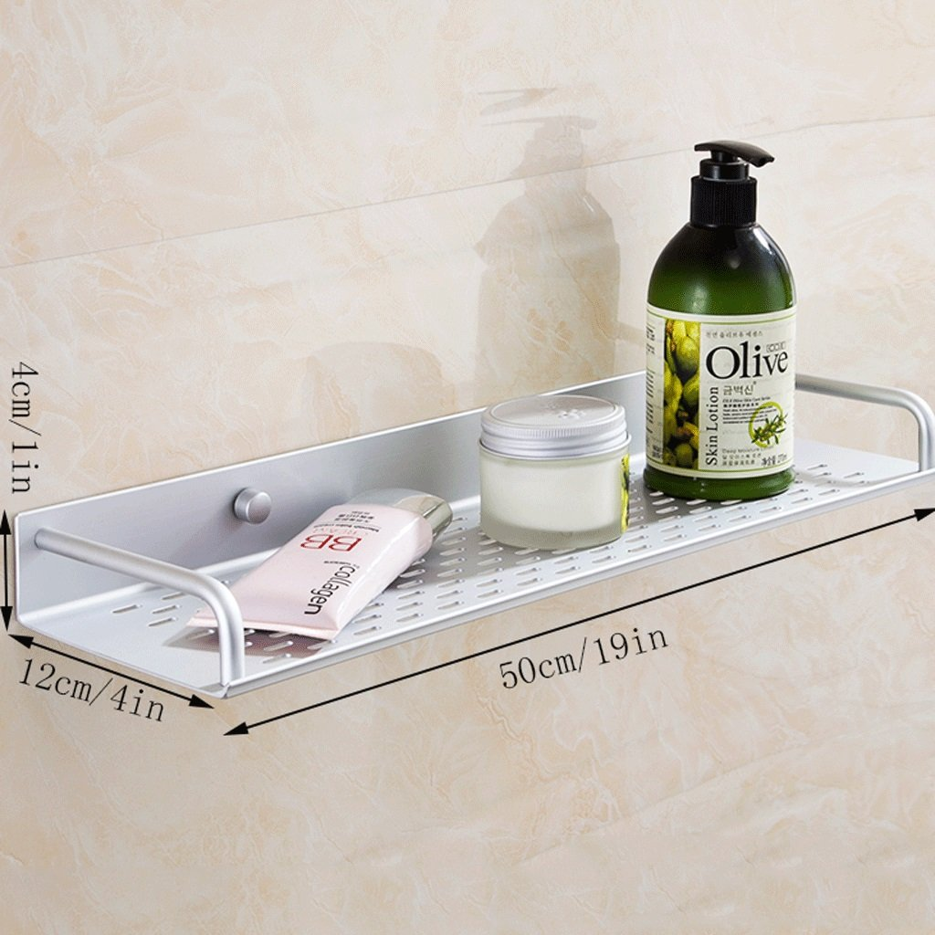 YXN Space Aluminum Bathroom Shelf Bathroom Hardware Accessories Single-layer Cosmetics Wall Mount Storage Rack (Size : 50cm)