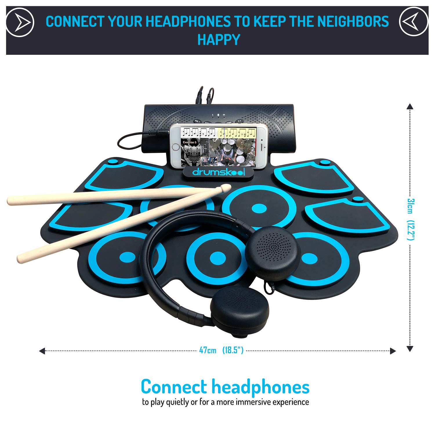 Drumskool Electronic Drum Set, MIDI Electric drum kit, Connect your phone to play along with included Drum Lessons, Speakers, Drum Pedals, Drum Sticks, 10 hours play time, Quickstart Guide by Drumskool (Image #3)