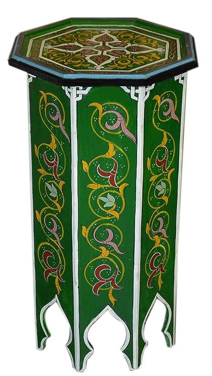 Moroccan Wood Side End Table Corner Coffee Handmade Hand Painted Moorish  Tall Green