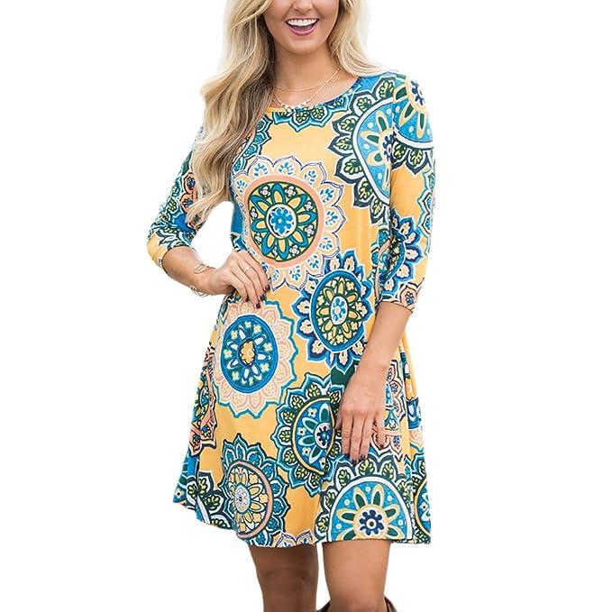 Lihaer Vestido De Mujer Estampado a La Moda Blusa Elegante Casual Falda De Playa Vestido De