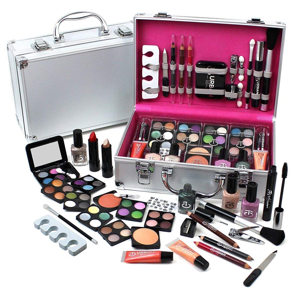Ardisle 60 Piece Makeup Vanity Case Cosmetic Set Make Up Beauty Storage Box Gift Xmas Storage Box Ladies Girls Xmas Gift Box Travel Cosmetic Vanity Case Friend Christmas Present