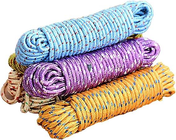 6 unidades de nailon cuerda de secado audaz tendedero de ropa al aire libre cuerda gruesa aleatorio Tendedero para ropa exterior resistente al viento antideslizante