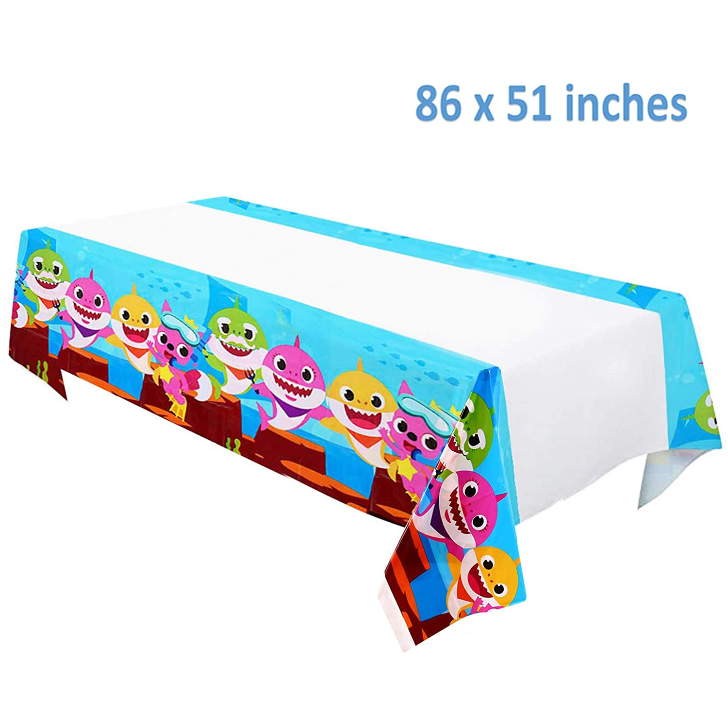 Baby Shark Table Cover 70 x 42 Baby Shark Birthday Party Supplies Decorations Tablecloth
