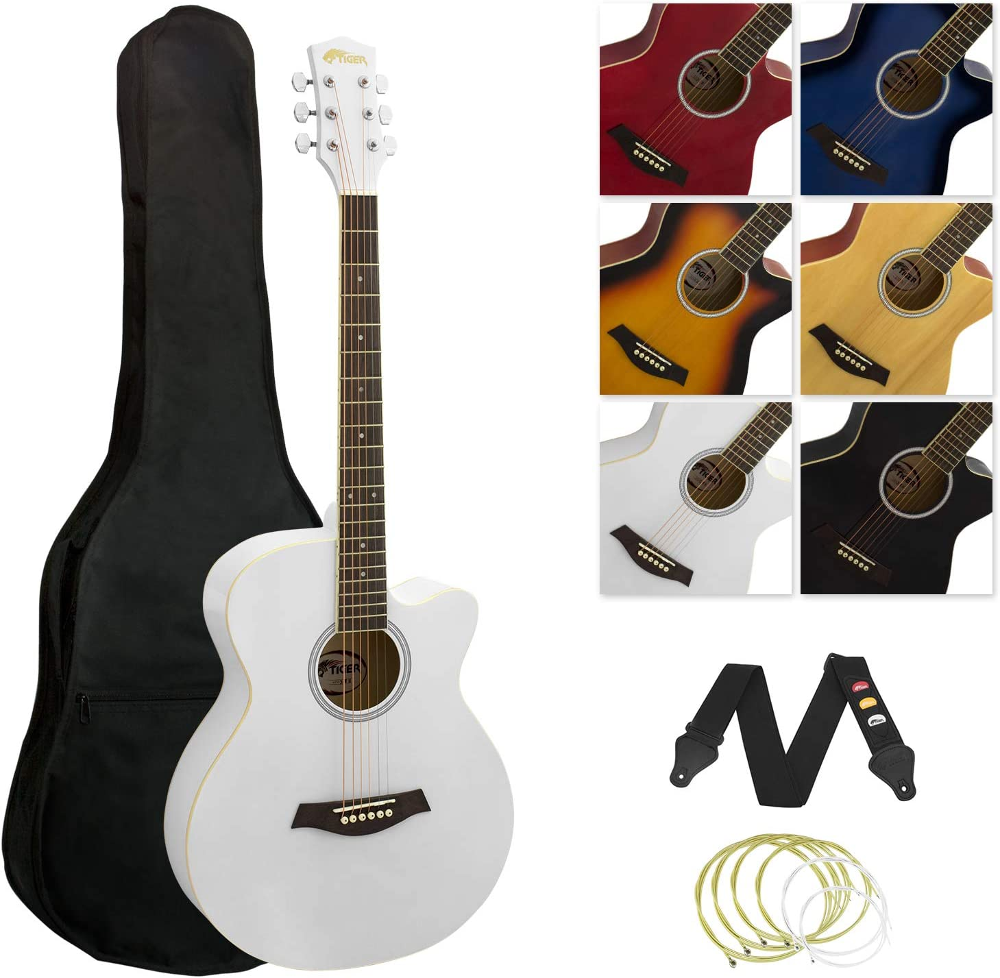 Tiger - Guitarra acústica, diseño recortado, color blanco: Amazon ...
