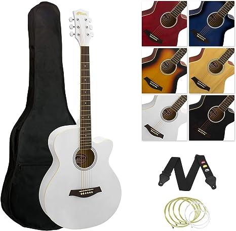 Tiger - Guitarra acústica, diseño recortado, color blanco: Amazon ...