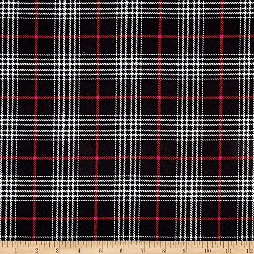 Timeless Treasures Oxford Flannel Glen Plaid Black Fabric By The Yard (Glen Plaid Fabric)