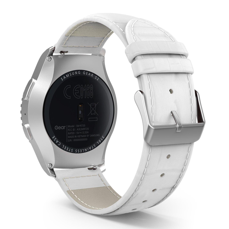 MoKo Gear S2 Classic Watch Band, Premium Soft Genuine Leather Crocodile Pattern Replacement Strap for Garmin Vivoactive 3/Samsung Galaxy Watch ...