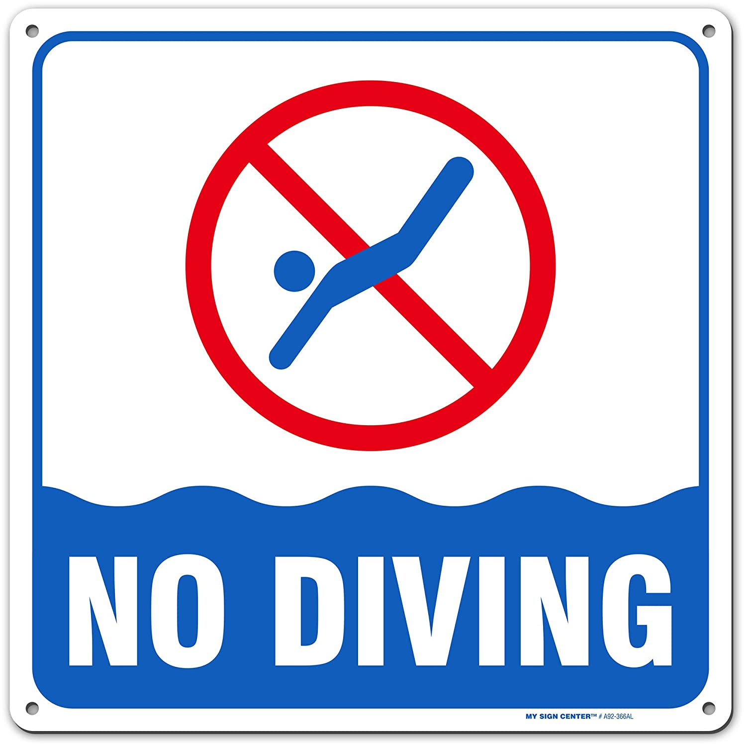 "No Diving Pool Sign, Pool Safety Warning, Indoor and Outdoor Rust-Free Metal, 12"" X 12"" - by My Sign Center, A92-366AL"