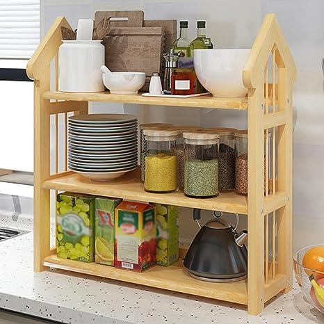 WSSF - Scaffali per cucina Mensole da cucina solidi ripiani in legno ...