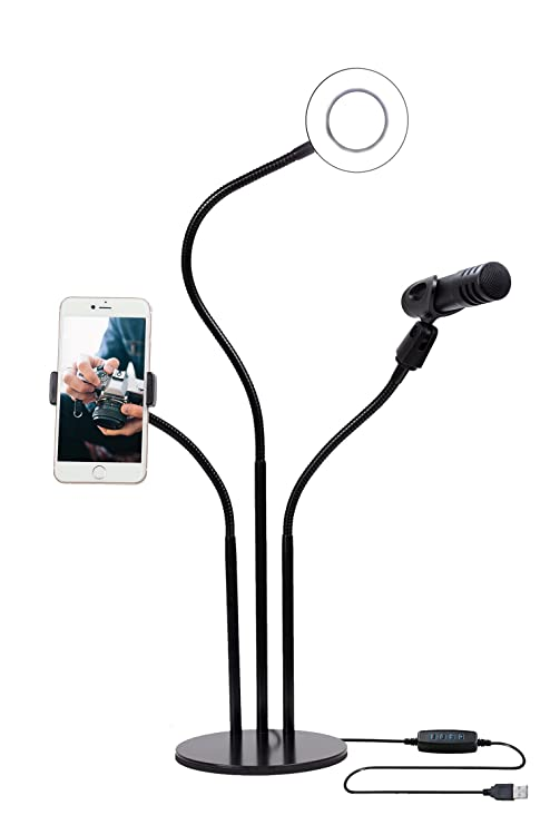 Mobile Live Stream Equipment, Mic Stand Ring Light & Cell Phone Holder,  Smartphone Lighting Accessories Live Streaming Videos on Facebook, YouTube,