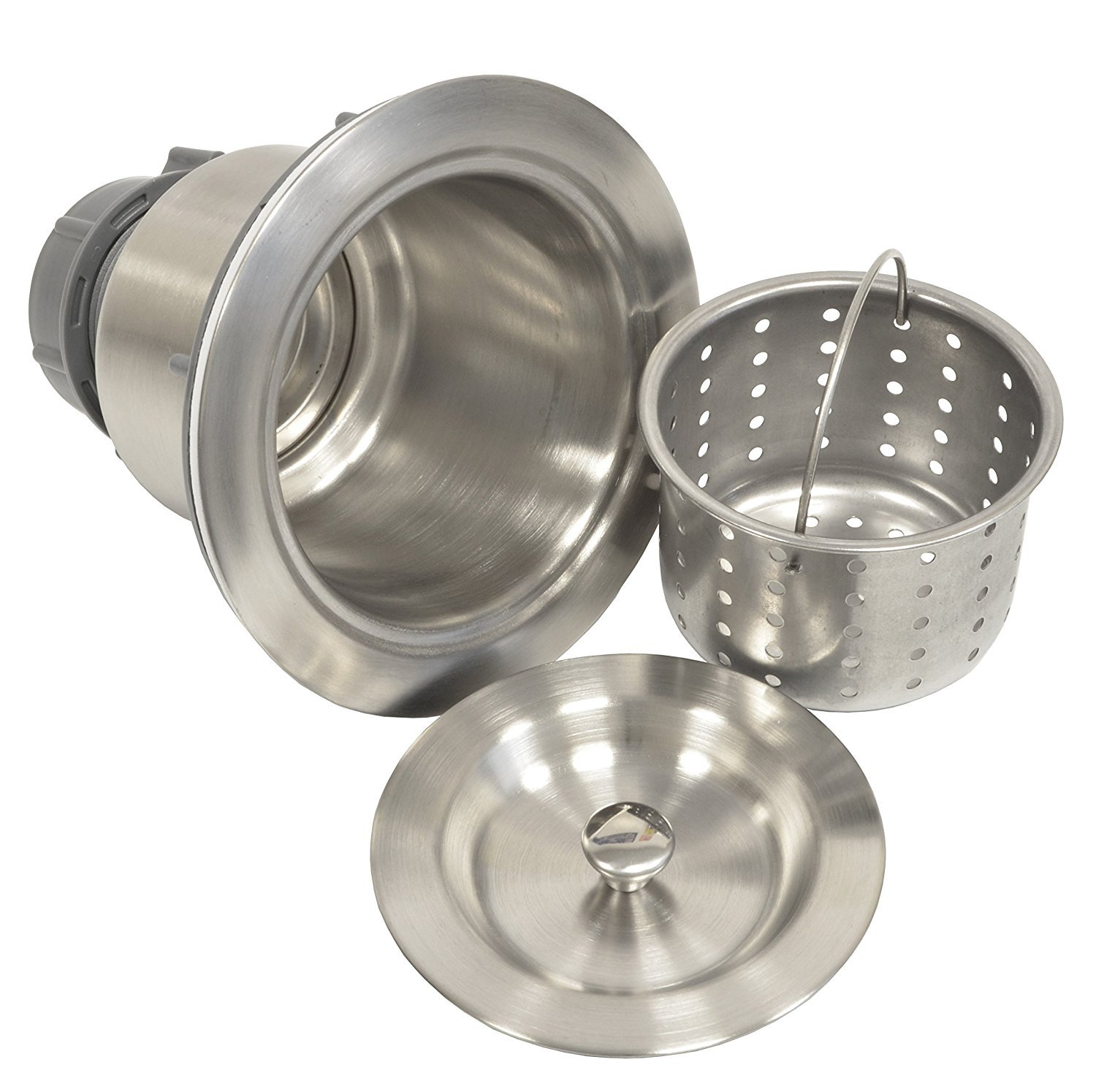 Coflex Extra Deep Cup Sink Basket Strainer with Sealing Lid, 304 Stainless Steel, Brushed Nickel Finish by Coflex