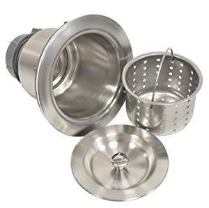 Coflex Extra Deep Cup Sink Basket Strainer with Sealing Lid, 304 Stainless Steel, Brushed Nickel Finish