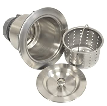 Coflex Extra Deep Cup Sink Basket Strainer With Sealing Lid, 304 Stainless  Steel, Brushed