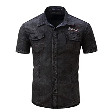 115f13712f Fredd Marshall Men s Short Sleeve Button Down Slim fit Denim Work Shirt (S
