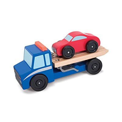 Melissa & Doug Flatbed Tow Truck Wooden Vehicle Set: Melissa & Doug: Toys & Games