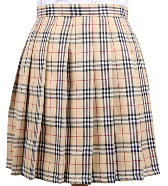 7a4f52b077 Broadmix Women's School Cosplay Plaid Pleated Mini Skirt at Amazon ...