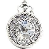 手巻き式 懐中時計 フックチェーン + ボールチェーン/ 革紐 + 化粧箱 セット