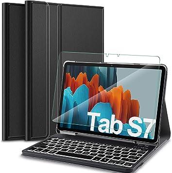 IVSO - Funda con Teclado para Samsung Galaxy Tab S7 (2020, con Cristal Templado, QWERTZ alemán), función Atril, Funda Protectora con Teclado extraíble ...