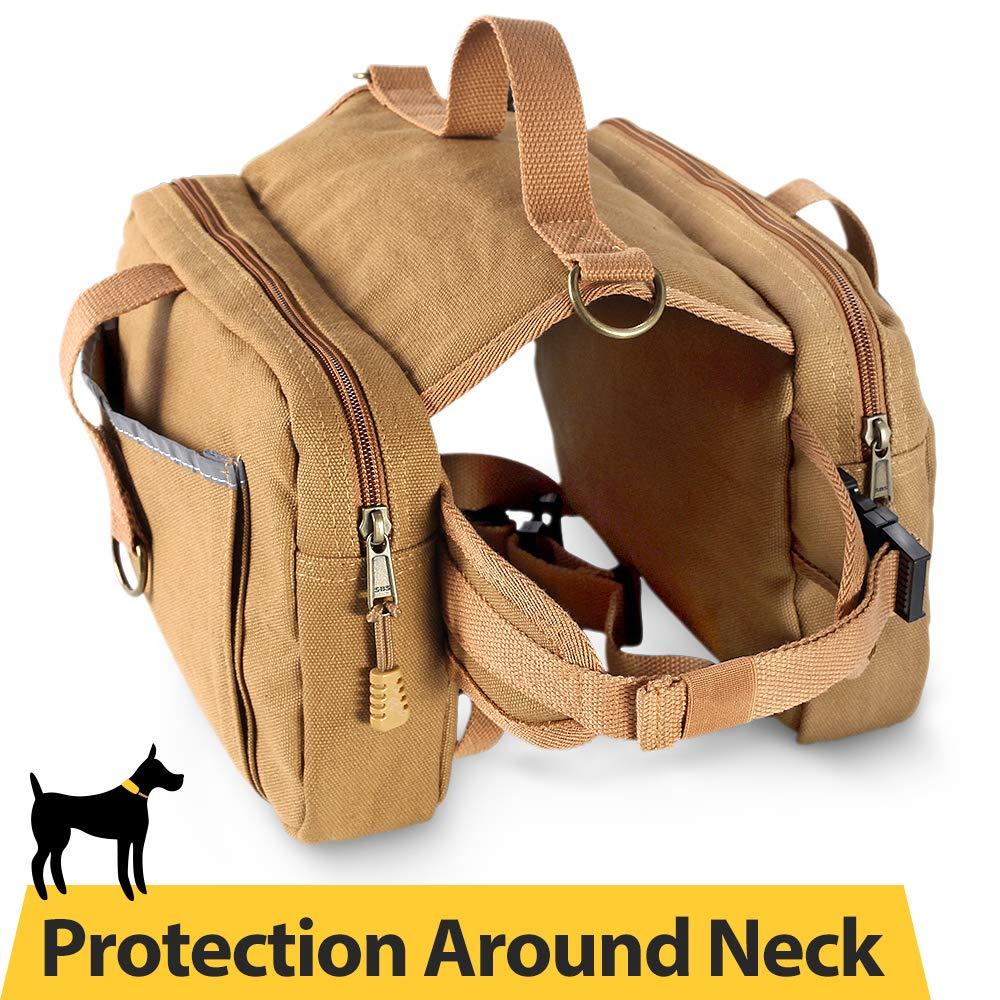 Dog Hiking Saddle Bag 16oz Canvas Adjustable Straps Camping Backpacks for Medium & Large Dogs