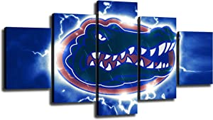 "Florida Gators Football Wall Decor Art Paintings 5 Piece Canvas Picture Artwork Living Room Prints Poster Decoration Stretched and Wooden Framed Ready to Hang [60"" W x 32"" H]"