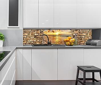 Nischenrückwand küchenrückwand 3d sonnenuntergang am meer steinmauer