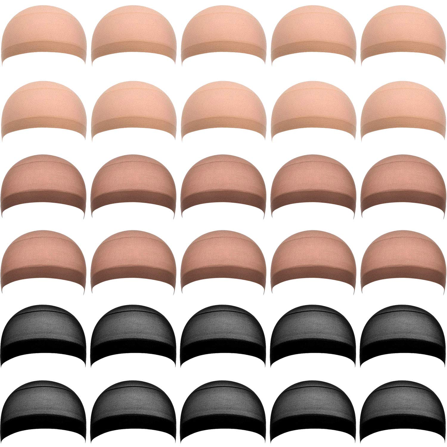 eBoot 30 Pieces Nylon Wig Caps for Women and Men (Skin, Black, Light Brown) by eBoot