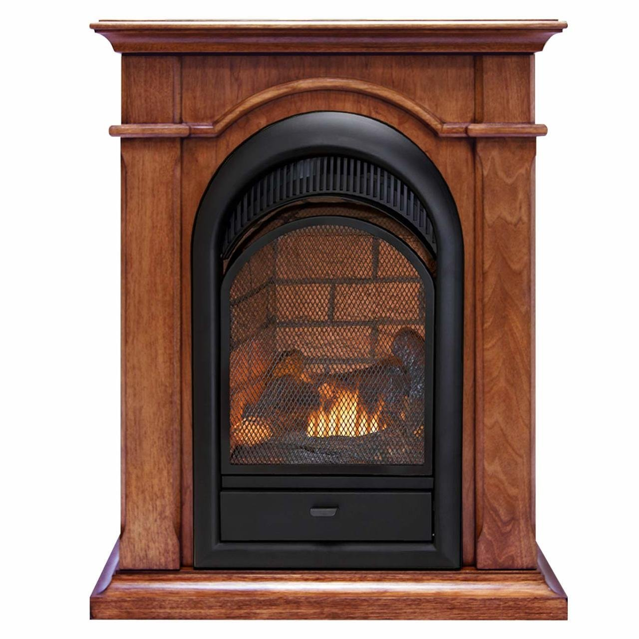 Duluth Forge Dual Fuel Ventless Fireplace With Mantel - 15,000 BTU, T-Stat, Apple Spice Mantel by Duluth Forge