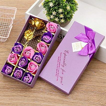 NYWENY 12 Piezas de Flores de Jabón con Rosa Dorada En Caja de Regalo Flores Falsas para Decoración Flor de Imitación Flor Romántica de Hoja de Oro de 24K Flor de: Amazon.es: