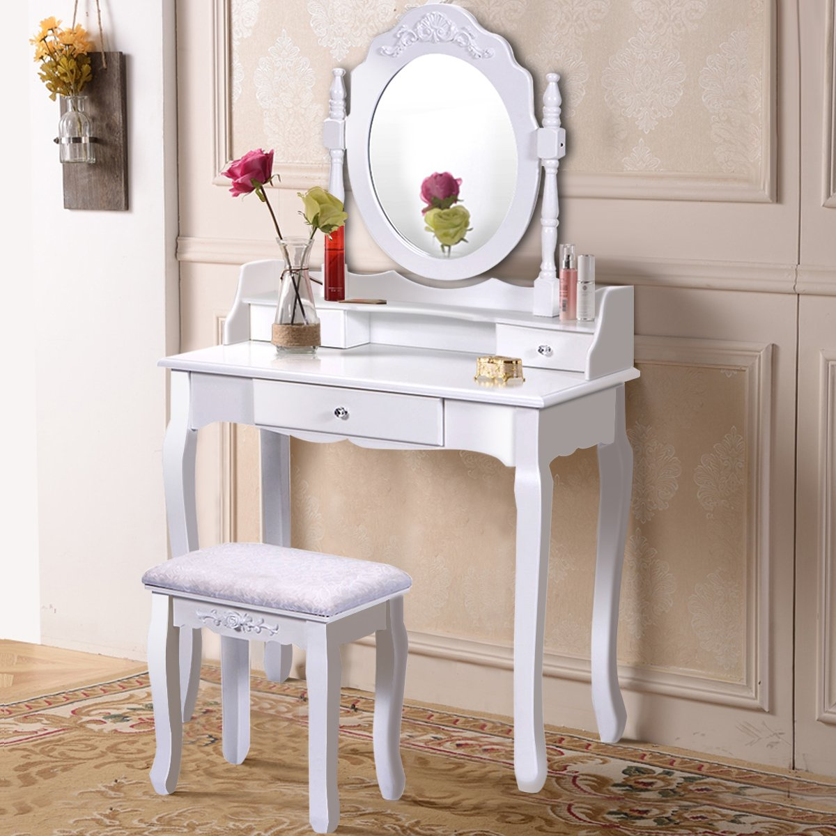 Giantex Bathroom Vanity Wood Makeup Dressing Table Stool Set with Mirror (Round Mirror, 3 Drawers