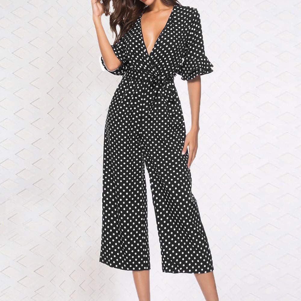 Amazon.com: Women Jumpsuit Fitfulvan Polka Dot Printed V ...