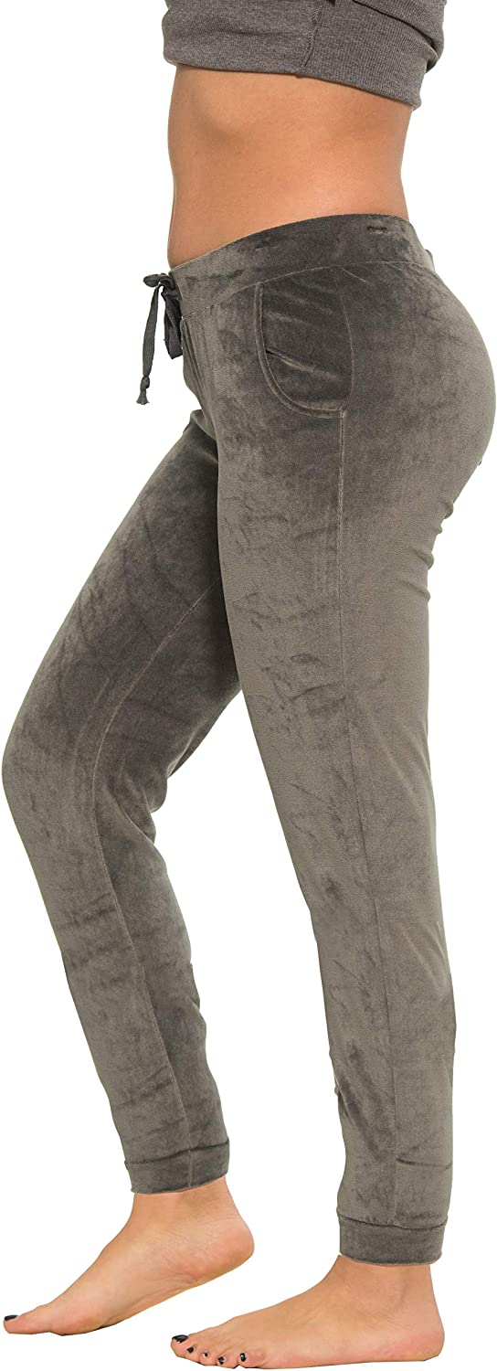 Regular /& Plus Sizes Coco-Limon Velour Long Sweatpants for Women with Side Pockets