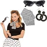 Kit costume Rockabilly avec lunettes de soleil, boucles d'oreilles et foulard tenue années 50 60 habits rock'n'roll accessoires vêtements 1960 équipement costume femme