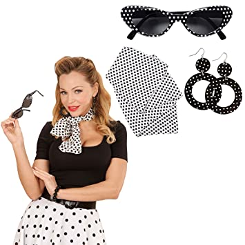 Rockabilly Costume Set With Sunglasses Earrings And Bandana 50s 60s