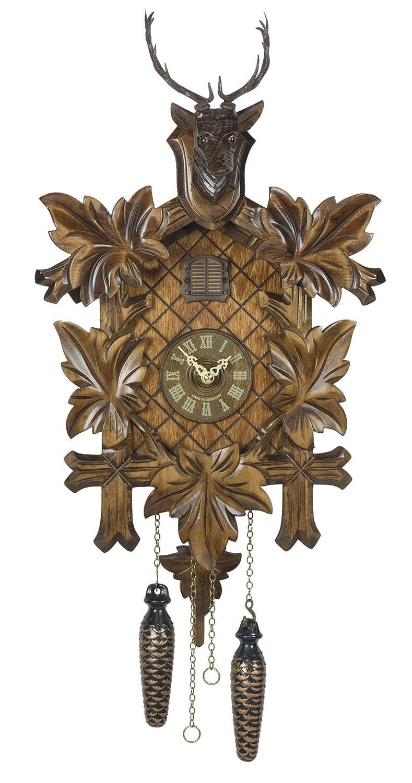 Quartz Cuckoo Clock 5 leaves, head of a deer, incl. batteries TU 355 Q Trenkle