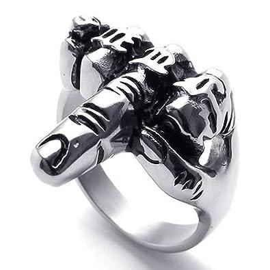 Anillo retro de dedo medio de hombres - TOOGOO(R) Anillo de joyeria de hombre motorista, de acero inoxidable, de dedo medio de estilo retro, negro + ...