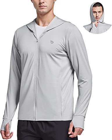 BALEAF Men's UPF 50+ Full Zip Light Jacket Hooded Cooling Shirt with Pocket Quick Dry Hiking Fishing Outdoor Performance