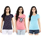 Modeve ® Round Neck Printed Half Sleeve Cotton T-Shirts for Women Combo Pack of 3