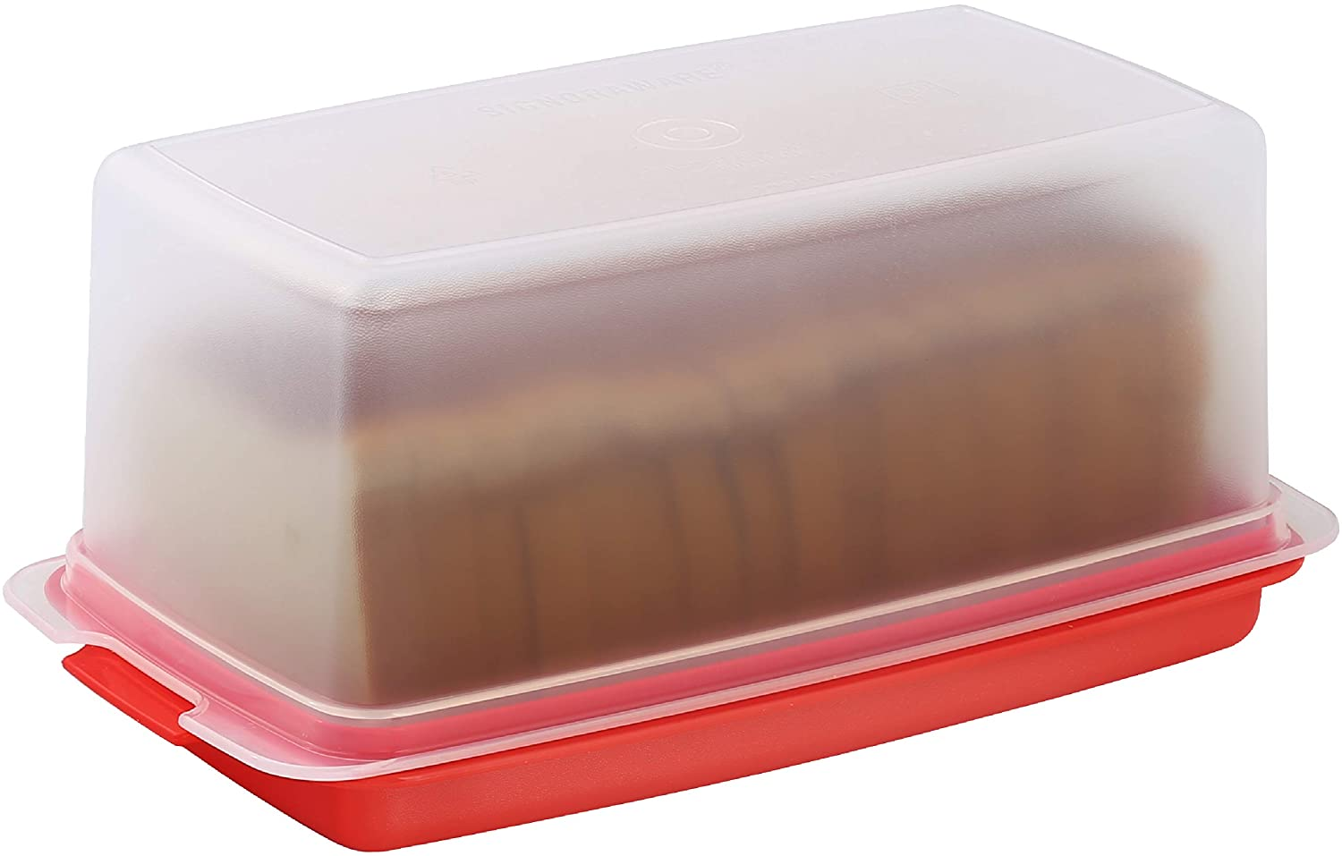 Bread Box -Dual Use Bread Holder/Airtight Plastic Food Storage Container for Dry or Fresh Foods -2 in 1 Bread Bin- Loaf Cake Keeper/Baked Goods -Keeps Bread Fresh- Red and Clear Cover - Signoraware