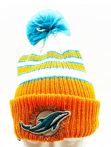 hot sale online c34aa a79bb Image Unavailable. Image not available for. Color  New Era Men s  Traditional Stripe Miami Dolphins Beanie Turquoise Aqua ...
