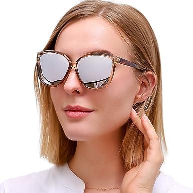 LVIOE Gafas de sol de ojo de gato para mujer, lentes con espejo polarizado con protección 100% UV400, gafas de sol de moda livianas con marco de ...