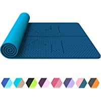FrenzyBird 6 mm Thick Yoga Mat Exercise Mat with Alignment Lines Carrying Strap, PVC Free, Ideal for Beginners and Advanced Yogis