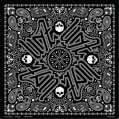 ZANheadgear BD101 Unisex-Adult Polyester Deluxe Bandanna with Black Paisley Graphics (Multicolor, 24