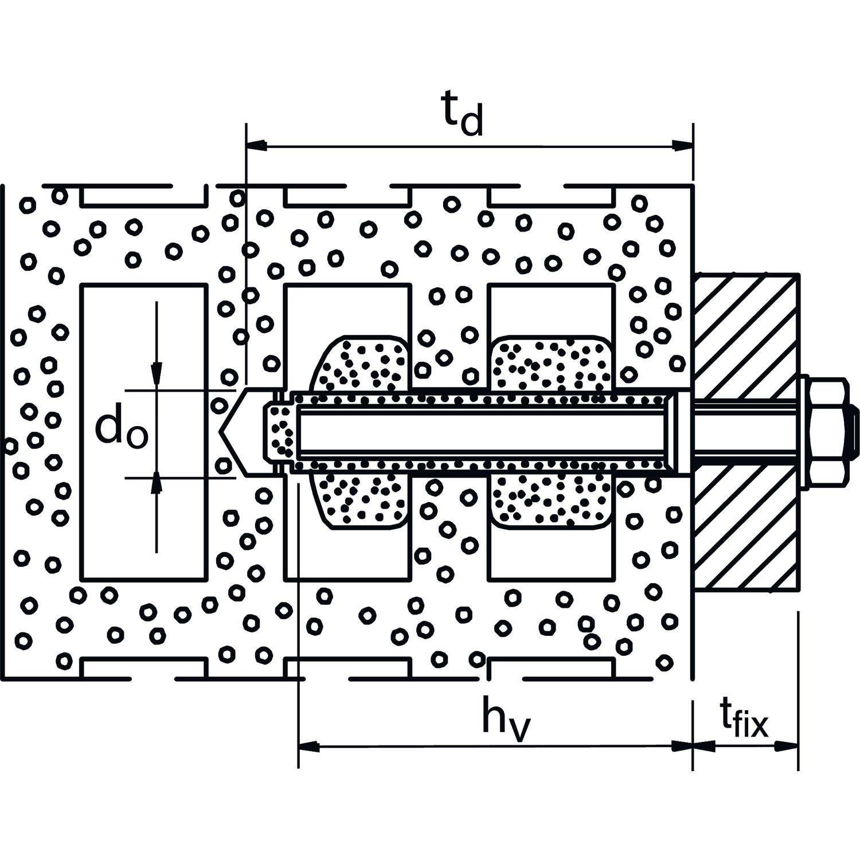 FISCHER 041900 Envase de 50 ud. Casquillo metalico FIS H 12x50 K